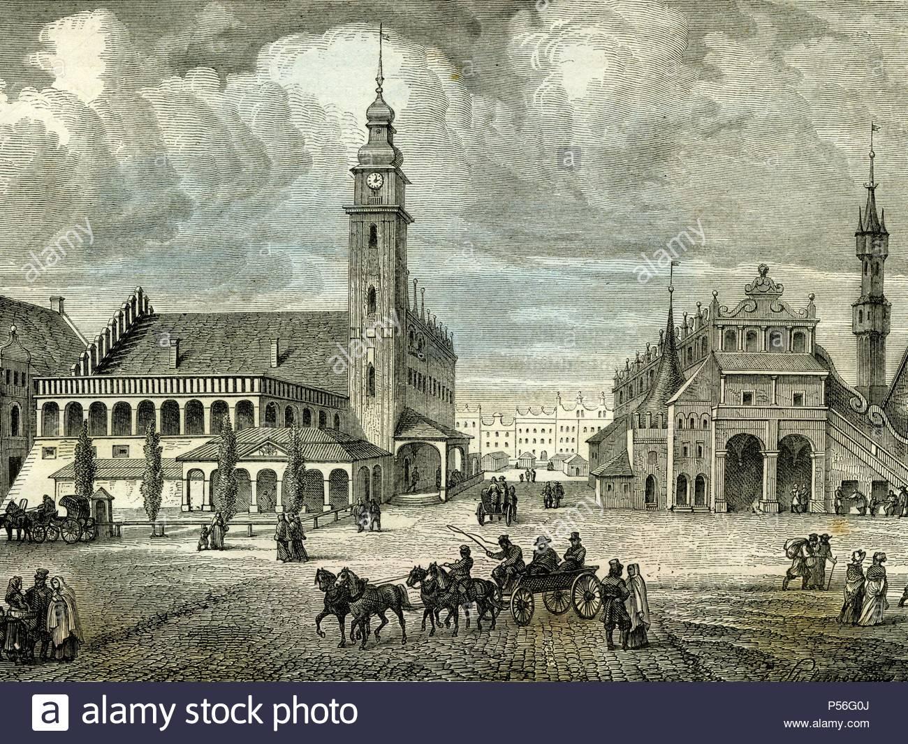 Krakow, Cracovie, Poland, 19th century. - Stock Image