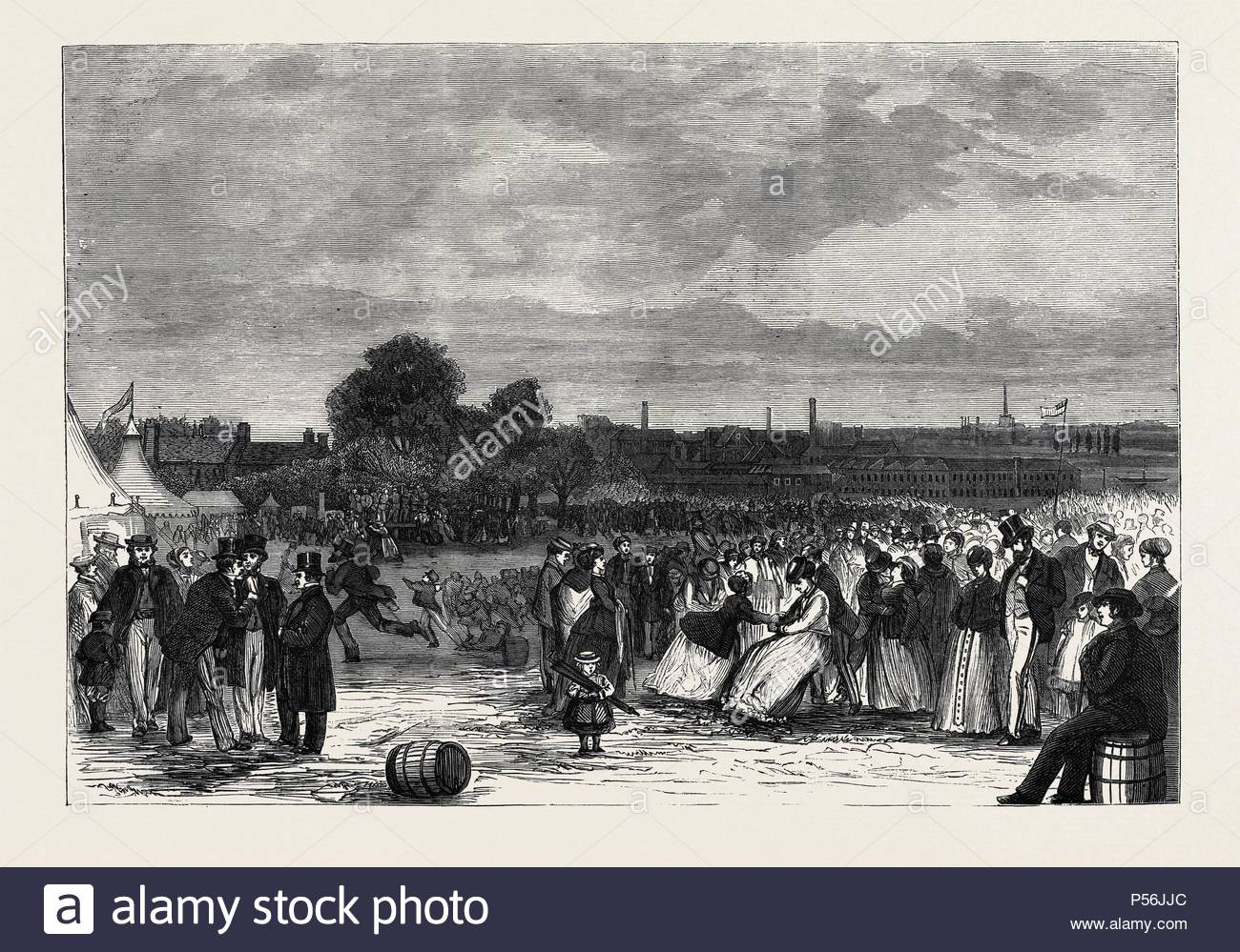 WHITSUNTIDE FESTIVAL OF WORKPEOPLE AT NORWICH, UK, 1869. - Stock Image