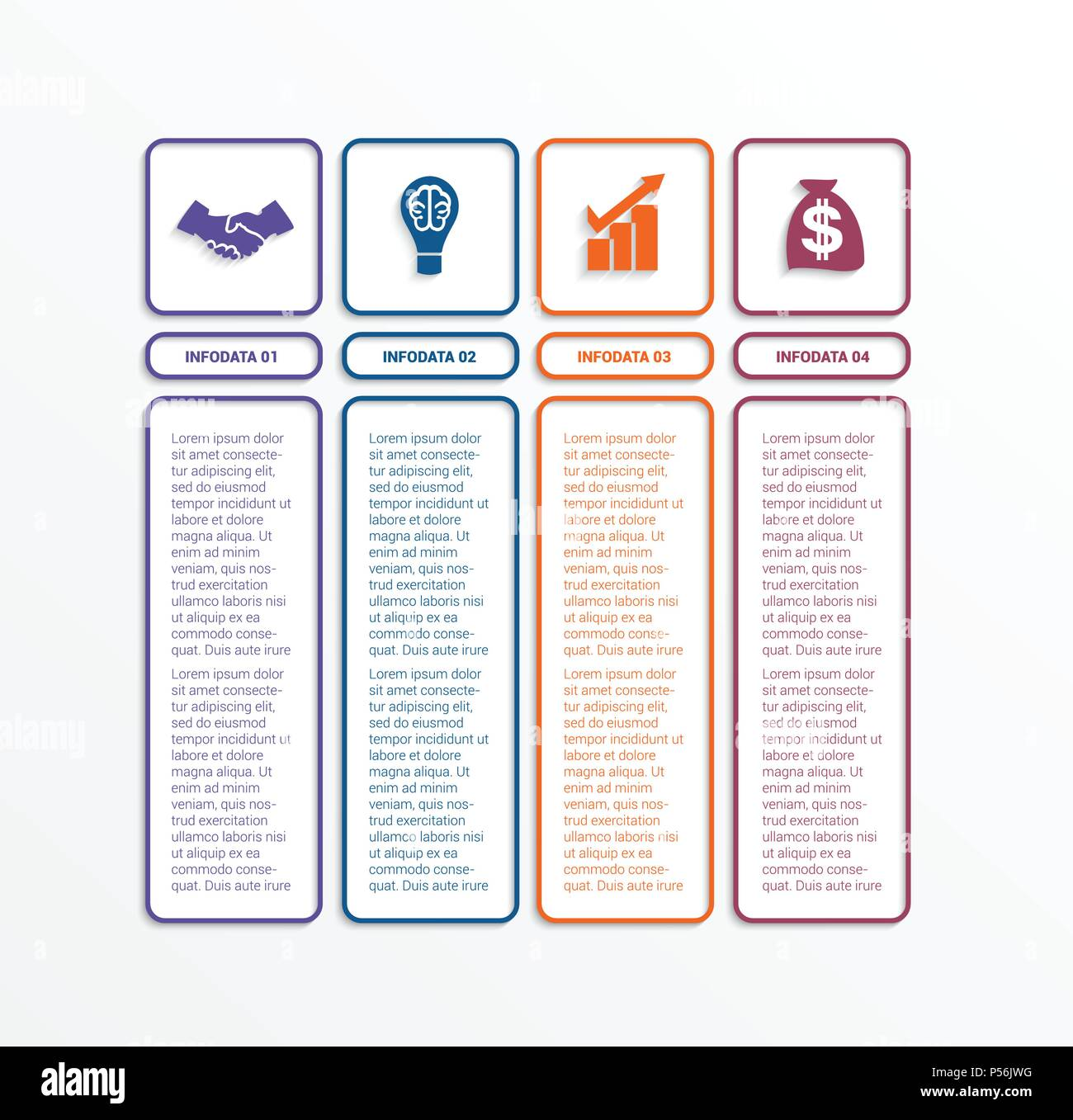 business infographics template with 4 options parts or processes