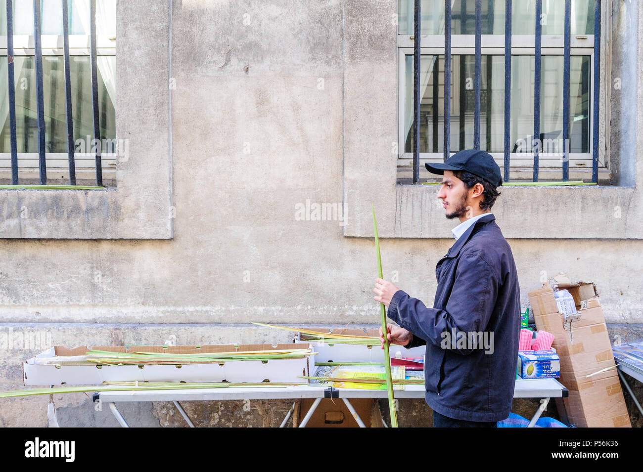 Paris, France - 27 september 2015: young man selling etrogs and lulavs at the sukkot market in the Marais - Stock Image