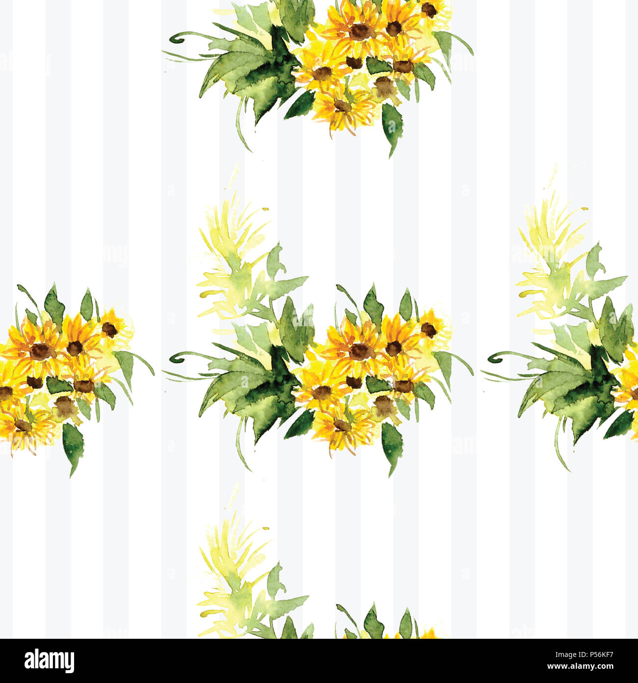 The Pattern Of Blooming Yellow Flowers Sunflower Painted In