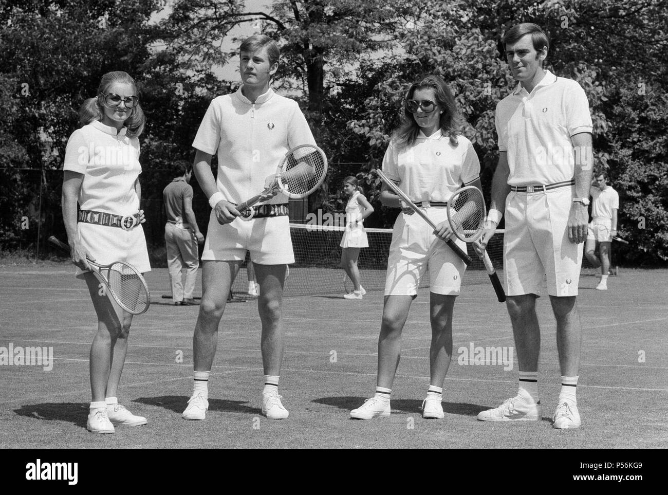 Pre Wimbledon at the Hurlingham Club. Unisex fashions by Fred Perry. 21st June 1970. - Stock Image