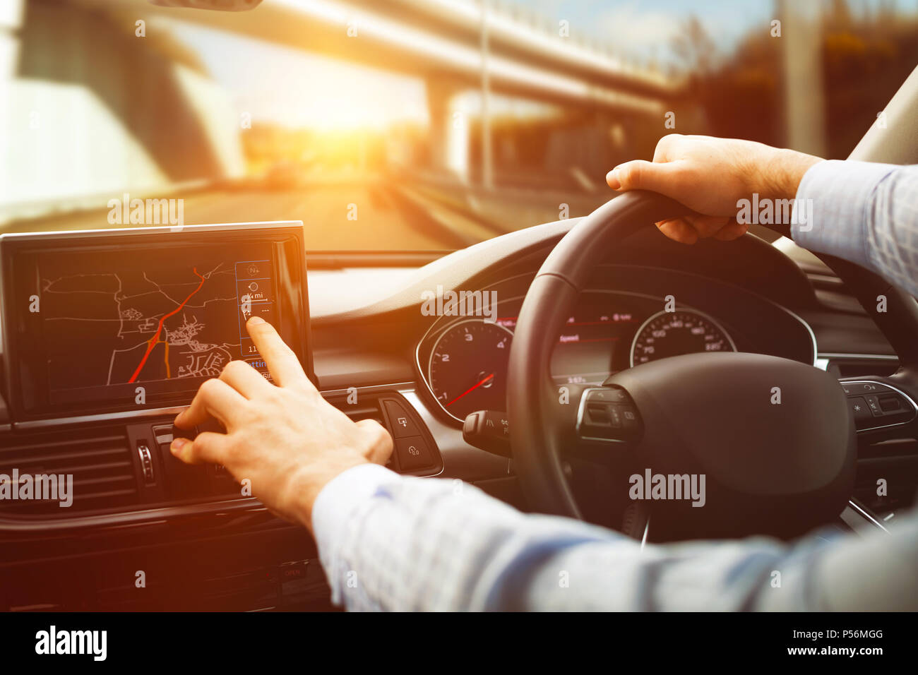 close-up of man using navigation system - Stock Image