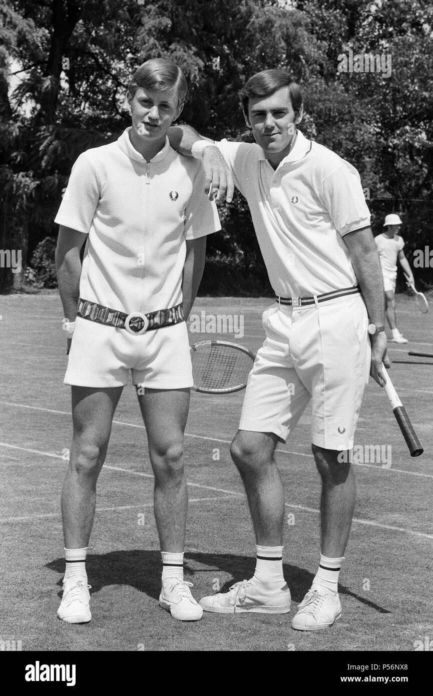 Pre Wimbledon at the Hurlingham Club. Unisex fashions by Fred Perry, 21st June 1970. - Stock Image