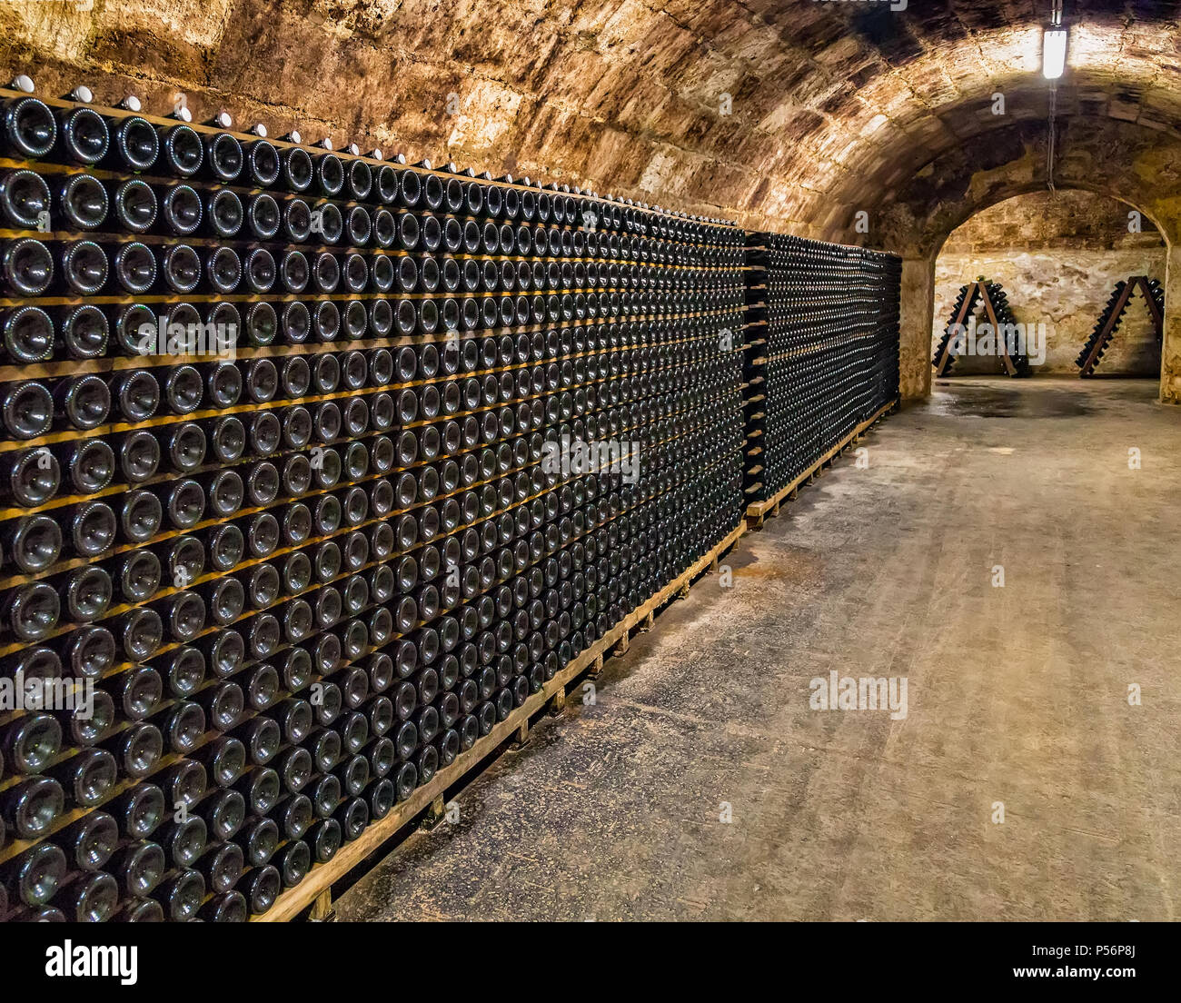 Sparkling wine cellar of famous Hungarian Törley Champagne Factory.Törley sparkling wines dates back to almost 150 years, produces 10-12 million bottl - Stock Image