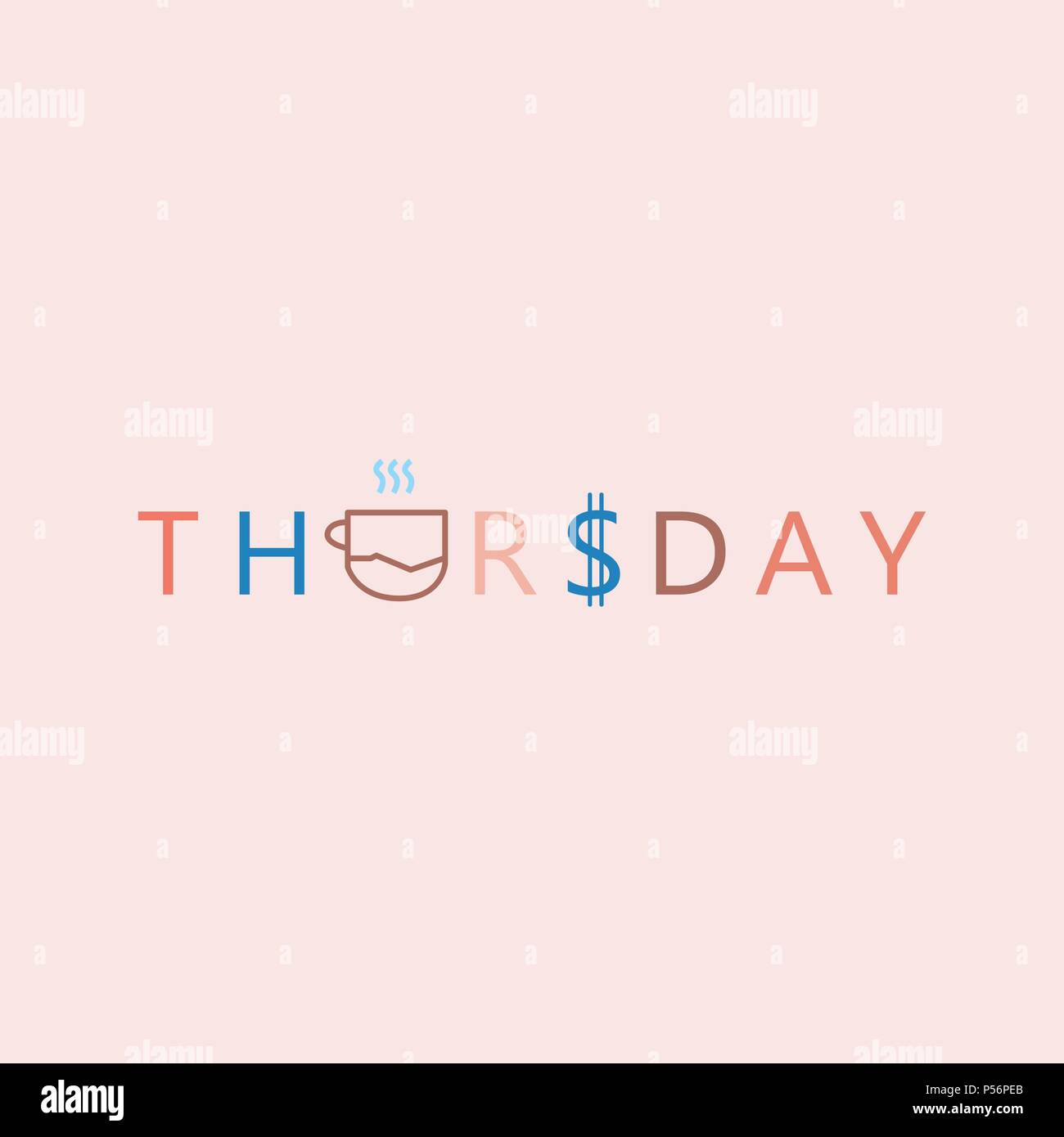 Thursday Beautiful lettering. Vector illustration of the text. Gentle pink background. - Stock Image