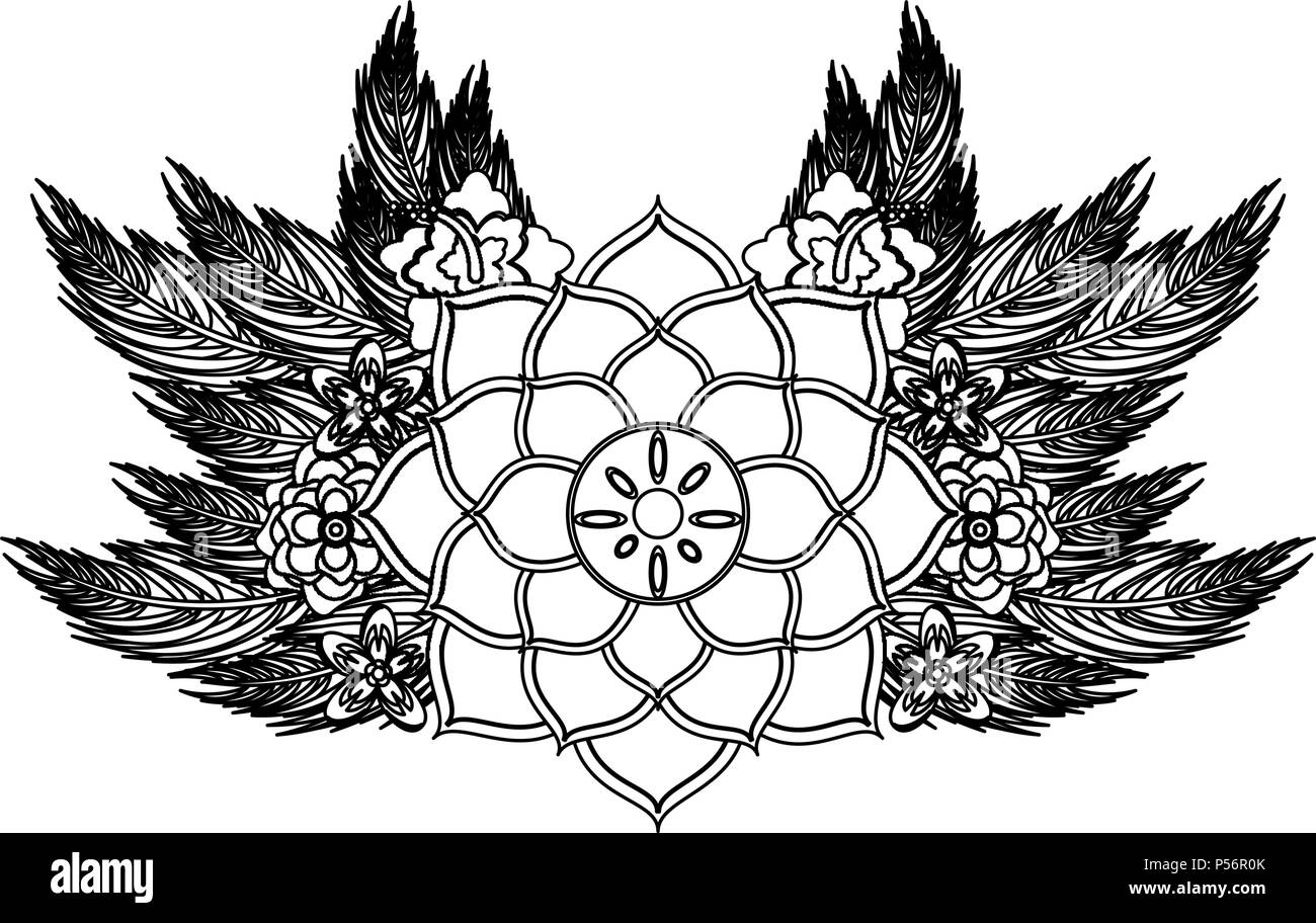Lotus Flower Symbol In Black And White Stock Vector Art