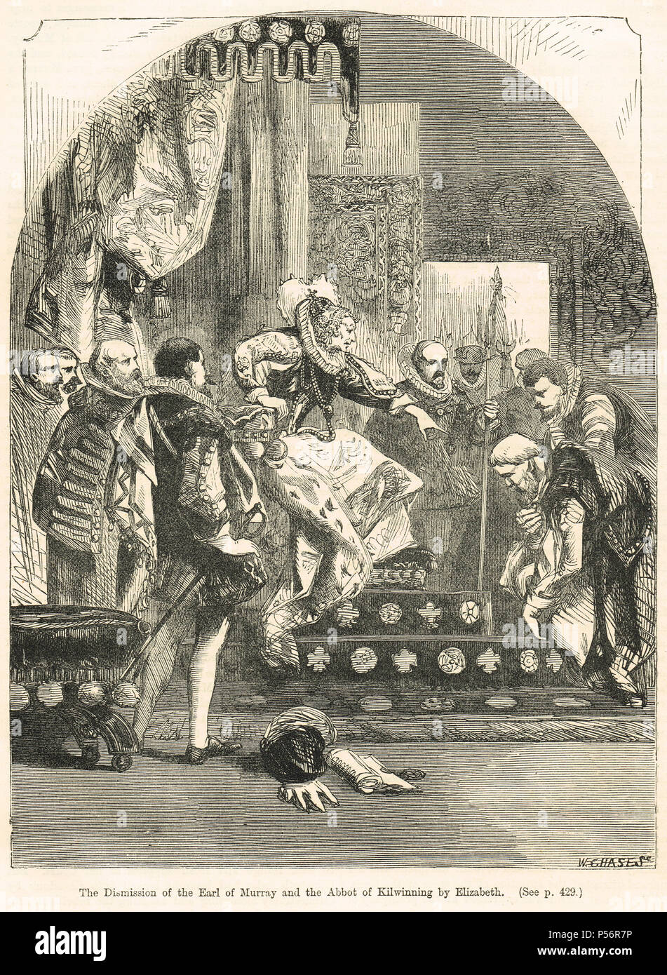 Dismission of the Chaseabout Raid rebels, the Abbot of Kilwinning and James Stewart, 1st Earl of Moray,  by Queen Elizabeth I, 1561 Stock Photo