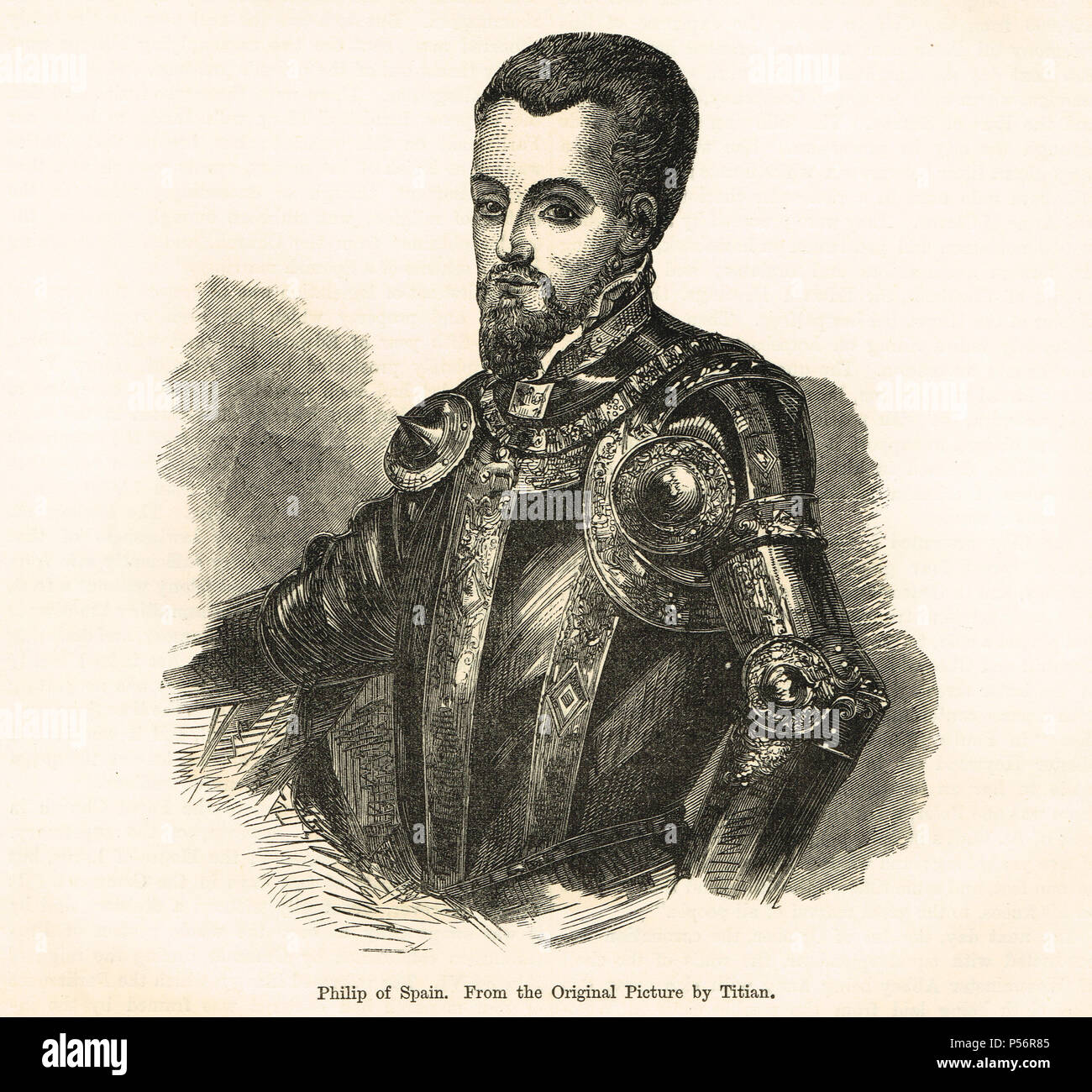 King Philip II of Spain, Felipe II, called the Prudent, el Prudente, King of Spain, King of Portugal, King of Naples and Sicily, jure uxoris King of England and Ireland as co ruler with Queen Mary I Stock Photo