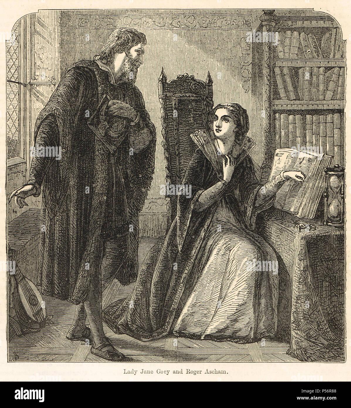 Lady Jane Grey reading Plato's Phaedo, visited by Roger Ascham, 1550 - Stock Image