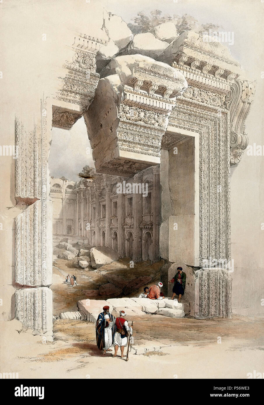 The Doorway, Baalbec, Lebanon.  Lithograph by Louis Haghe, after David Roberts. - Stock Image