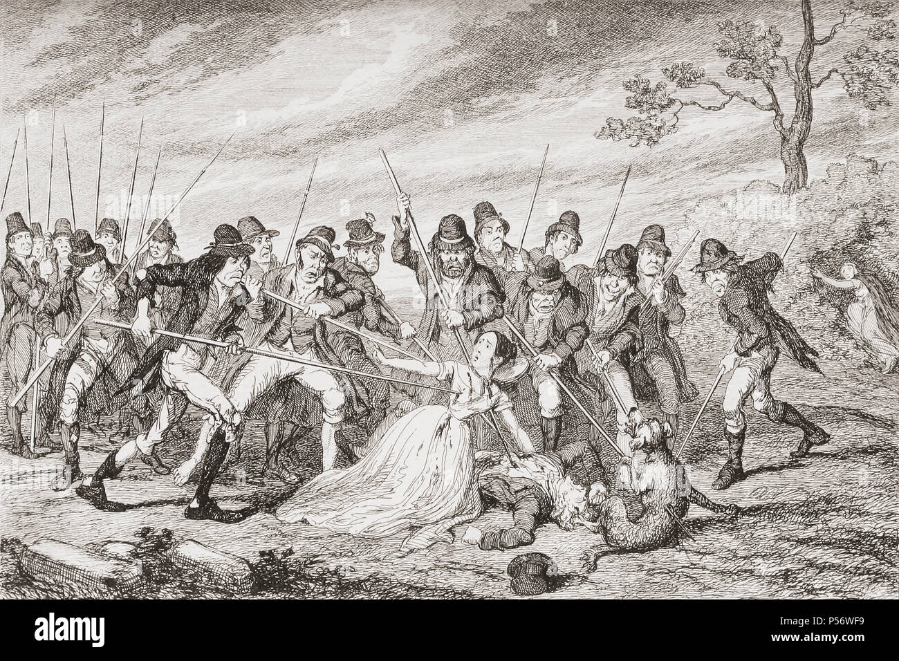 """""""The murder of George Crawford and his granddaughter"""".  An incident during the Irish Rebellion of 1798.  Illustration by George Cruikshank. From History of the Irish Rebellion in 1798; with Memoirs of the Union, and Emmett's Insurrection in 1803 by W.H. Maxwell. Published in London 1854. - Stock Image"""
