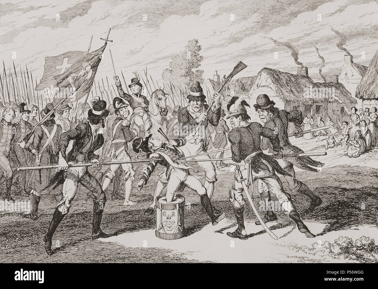 """""""The Loyal Little Drummer"""". Illustration by George Cruikshank.  During the 1798 Irish Rebellion a captured 12 years old British drummer boy was ordered by insurgents to beat his drum for them.  He refused and was murdered.  From History of the Irish Rebellion in 1798; with Memoirs of the Union, and Emmett's Insurrection in 1803 by W.H. Maxwell. Published in London 1854. - Stock Image"""