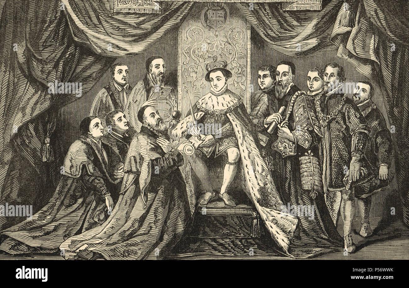 King Edward VI of England, granting the Royal Charter to Bridewell Hospital, 1553 - Stock Image