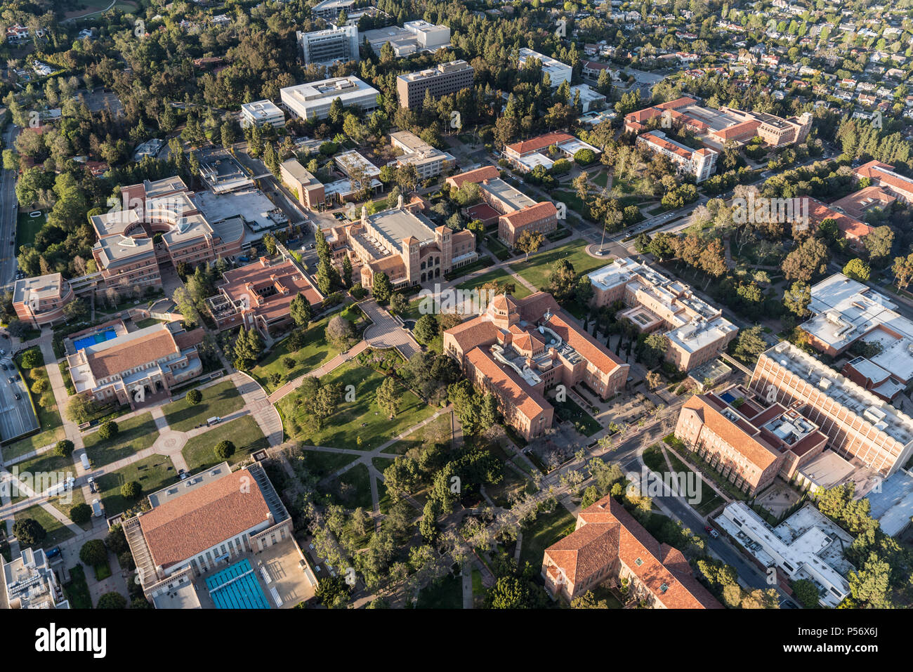 Los Angeles, California, USA - April 18, 2018:  Aerial view of buildings on the UCLA campus near Westwood. - Stock Image