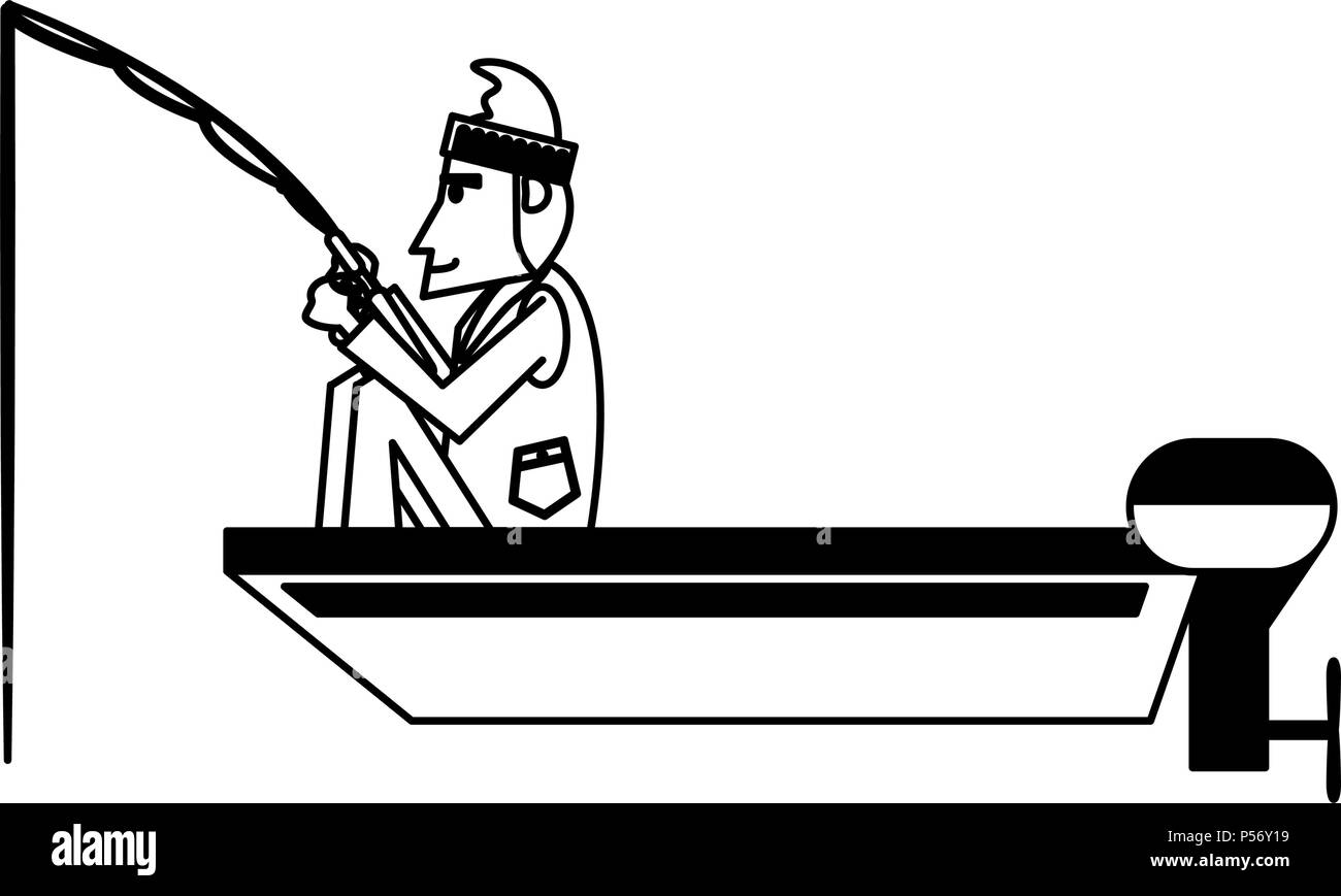 Fisherman On Boat In Black And White Stock Vector Image Art Alamy