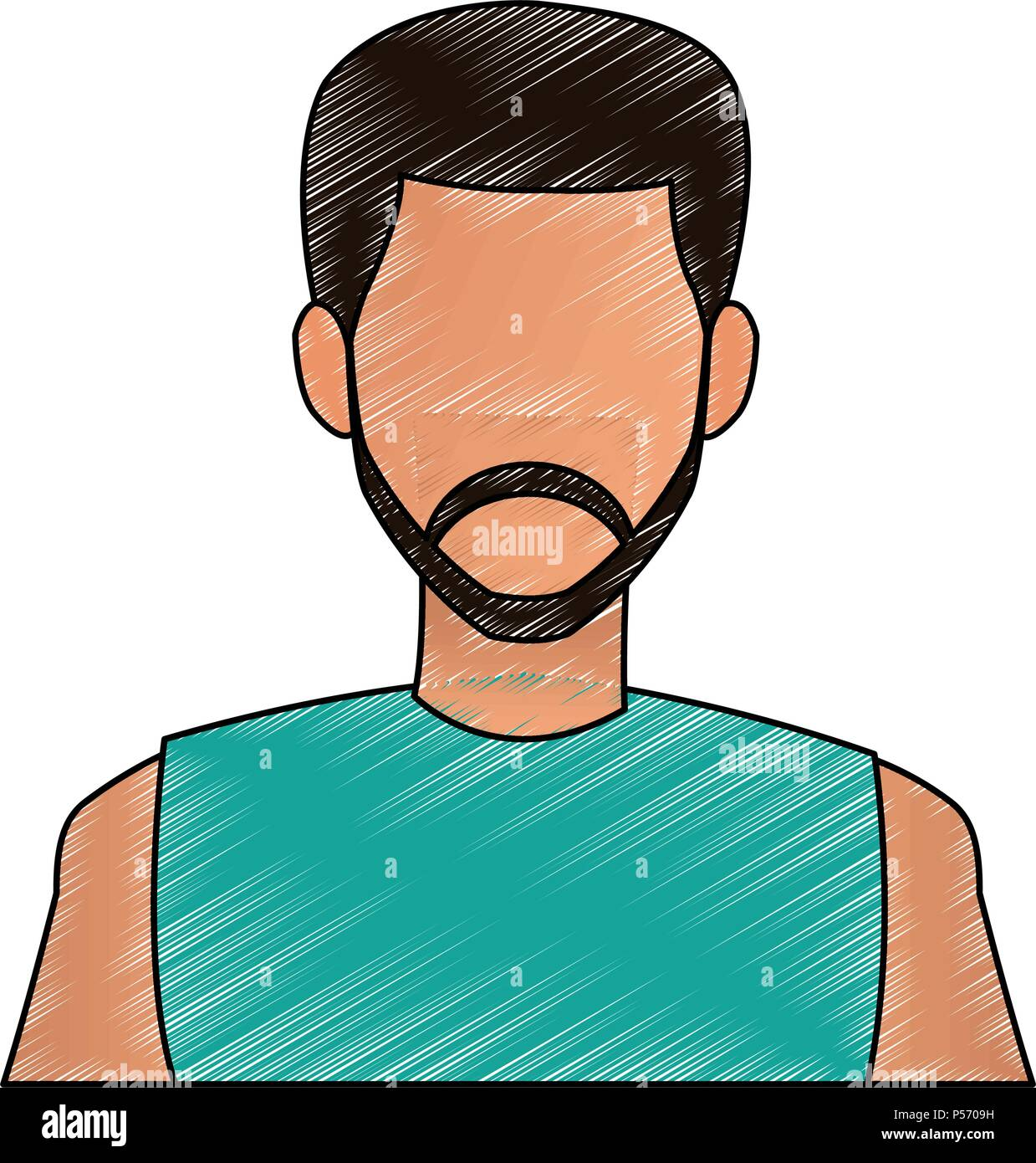 Mna faceless profile scribble - Stock Image