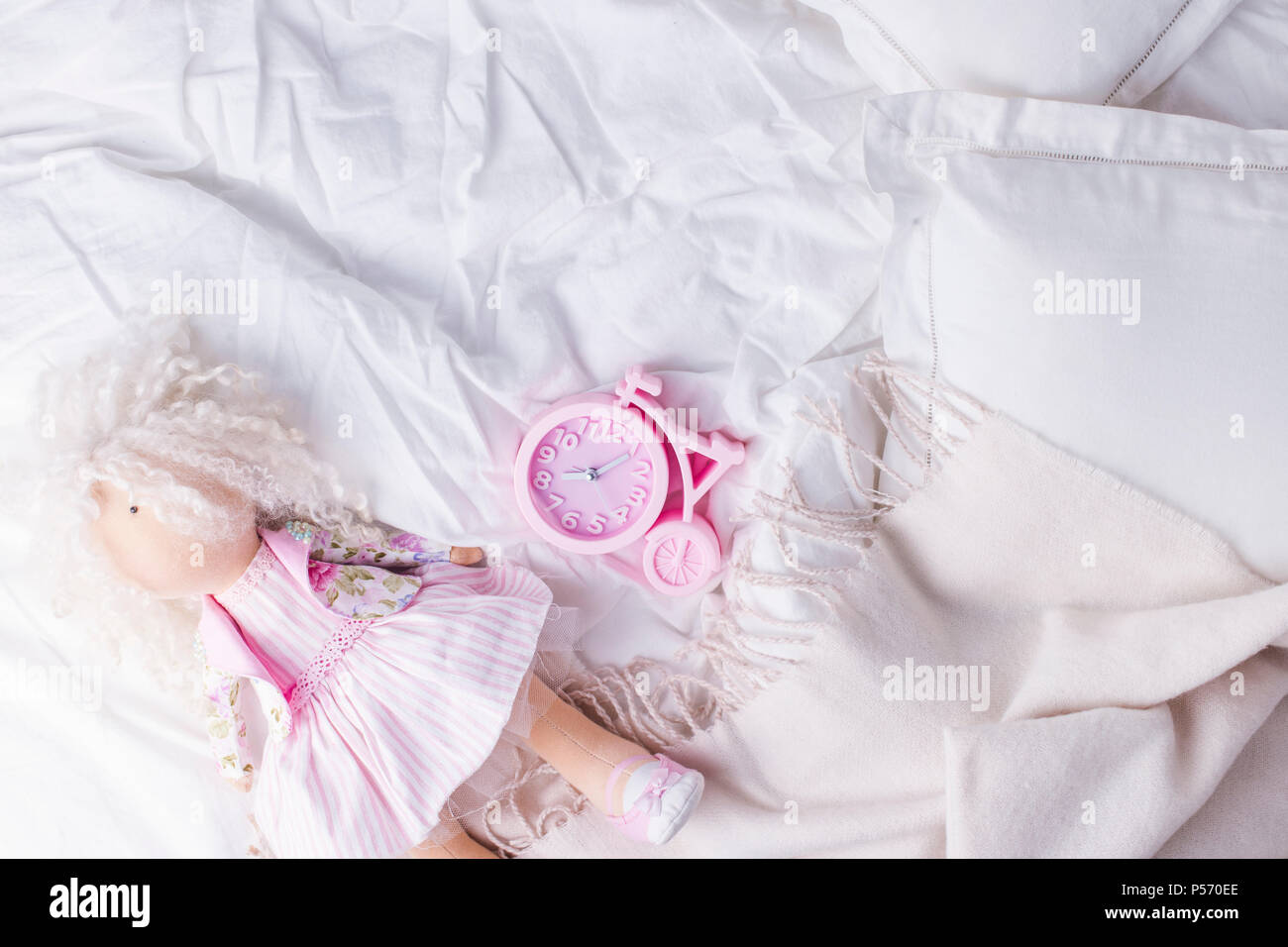 Top View Bed With Crumpled Bed Sheet Good Morning After A