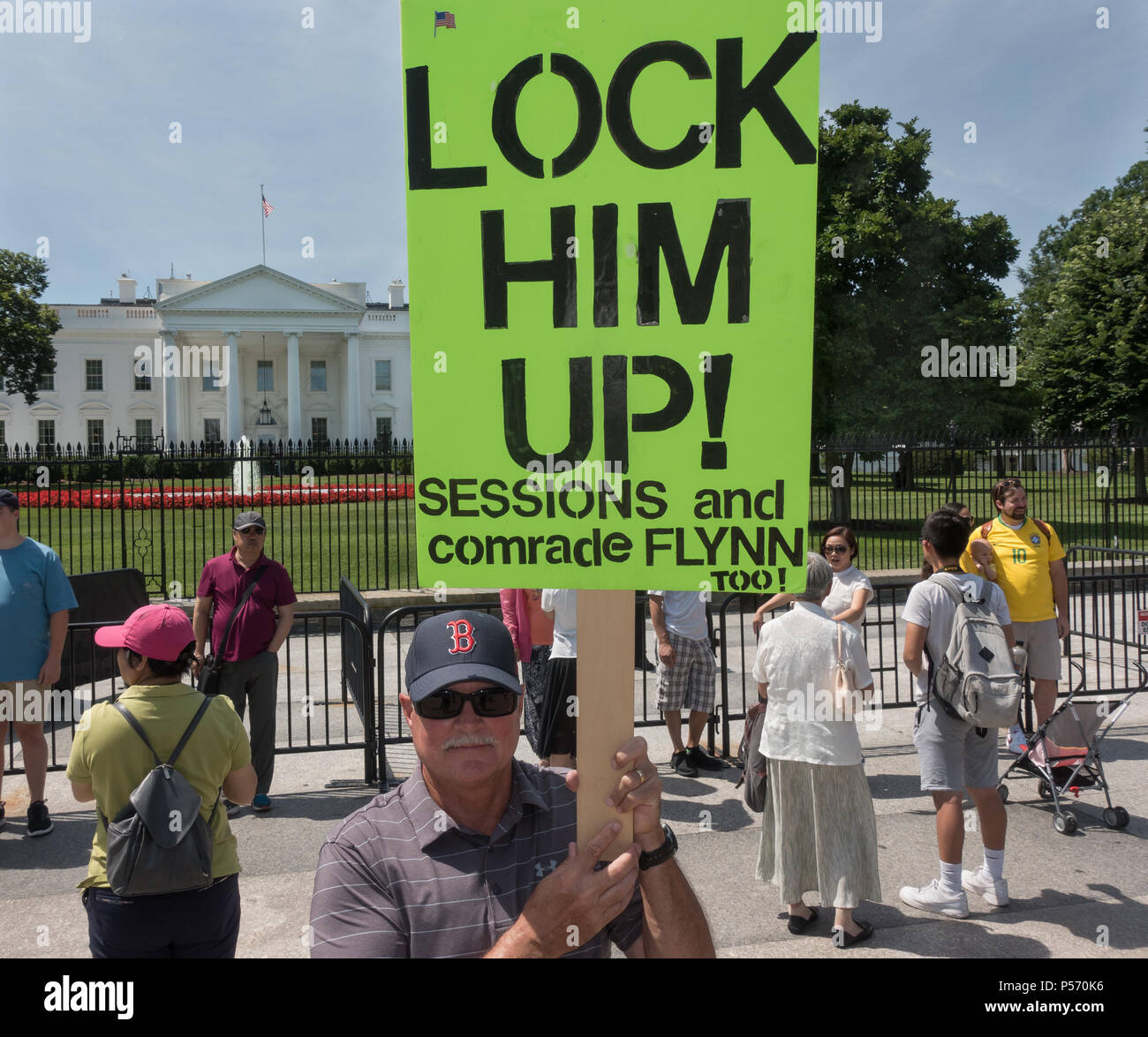 Protester White House - Lock Him Up (Trump) Sessions, Flynn. Demonstrating against Pres. Trump and accomplices in collusion. Washington, June 25, 2017 - Stock Image