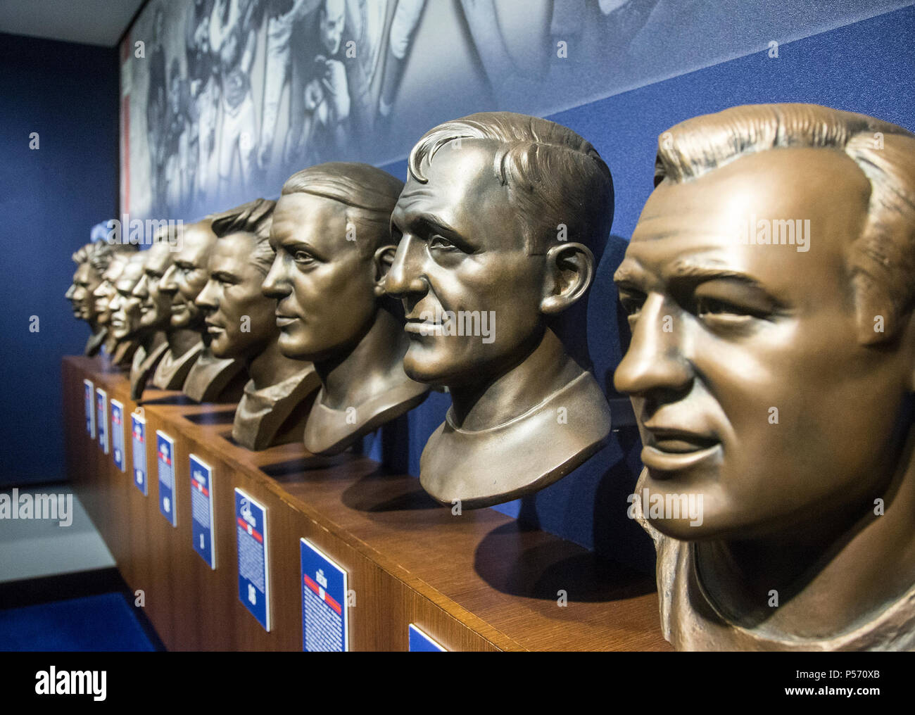 Busts of famous NY Giants on display in the Legacy Club at MetLife Stadium - Stock Image
