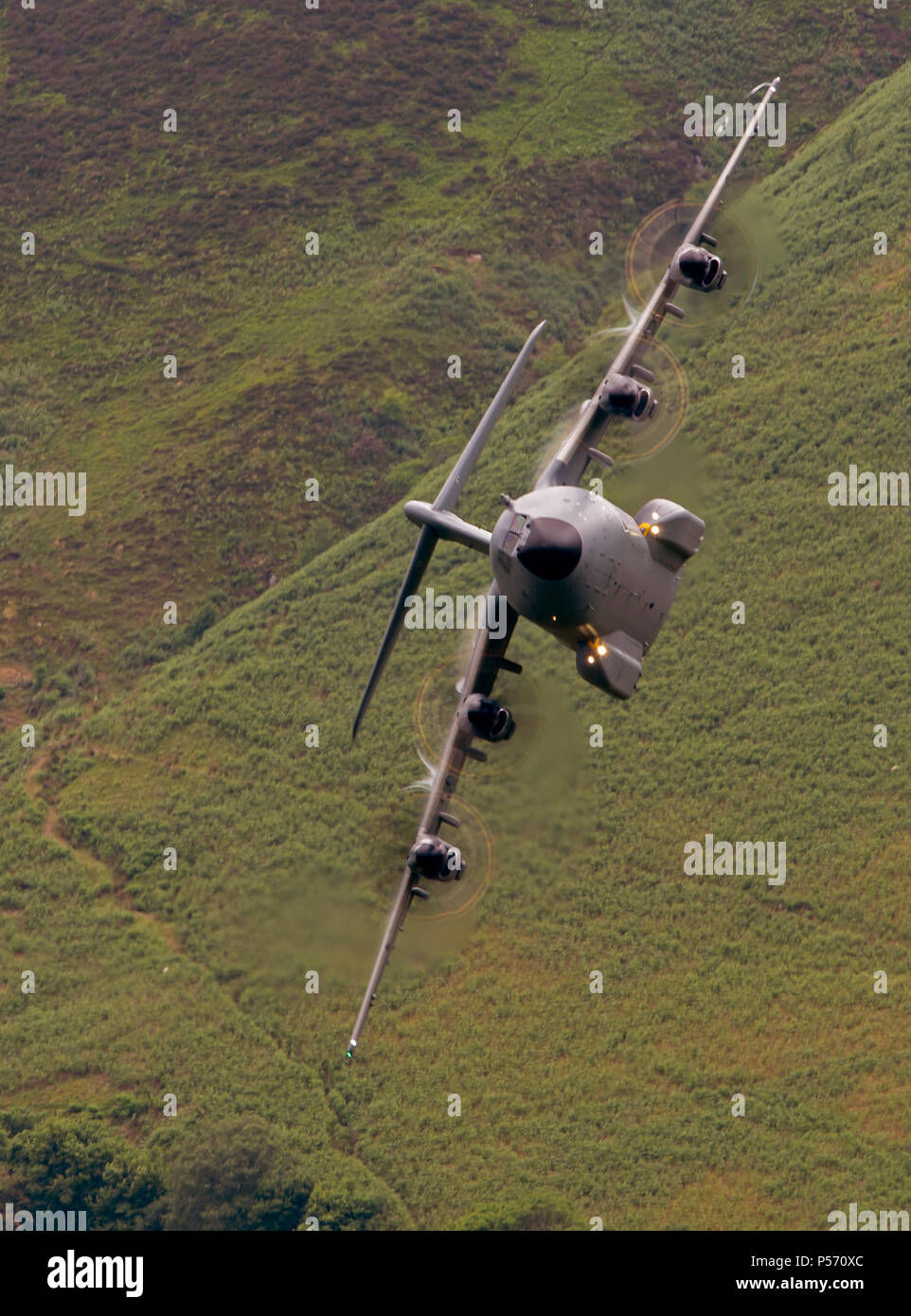 RAF Atlas A400m  flying low level in the mach loop area of Wales (LFA7, low flying area 7) near Snowdonia Stock Photo