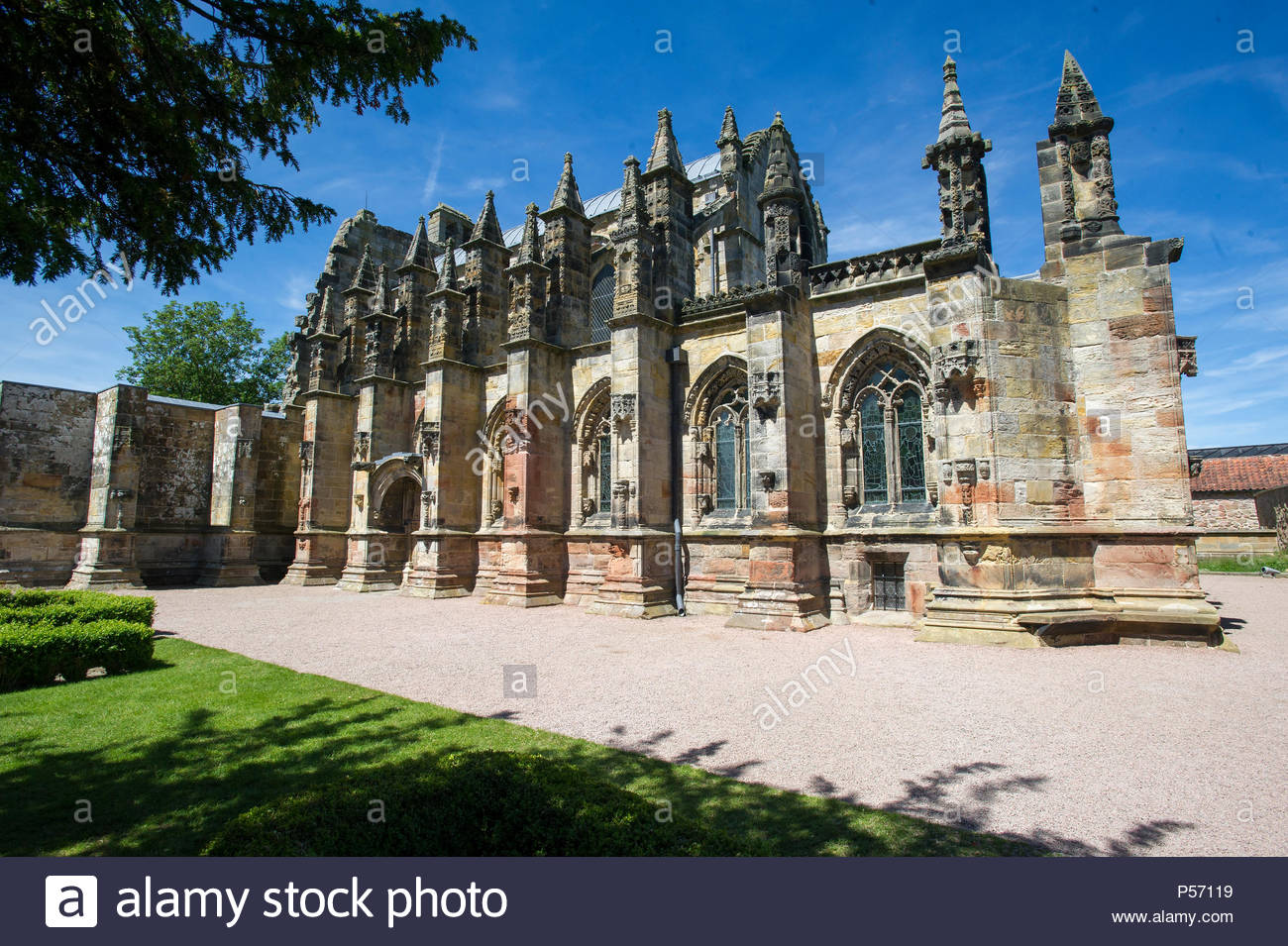 Exterior view of Rosslyn chapel, Roslin, Midlothian, Scotland. - Stock Image