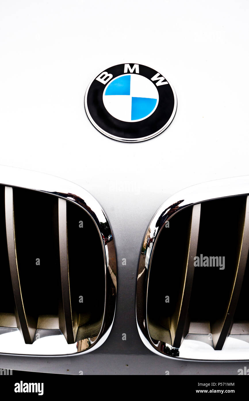 close up detail of a white BMW car hood and grille with logo - Stock Image