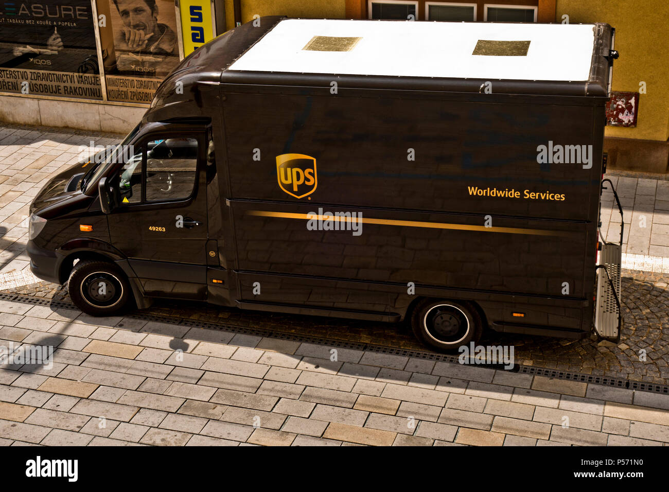 UPS, United Parcel Service truck parked in the street of Prague - Stock Image