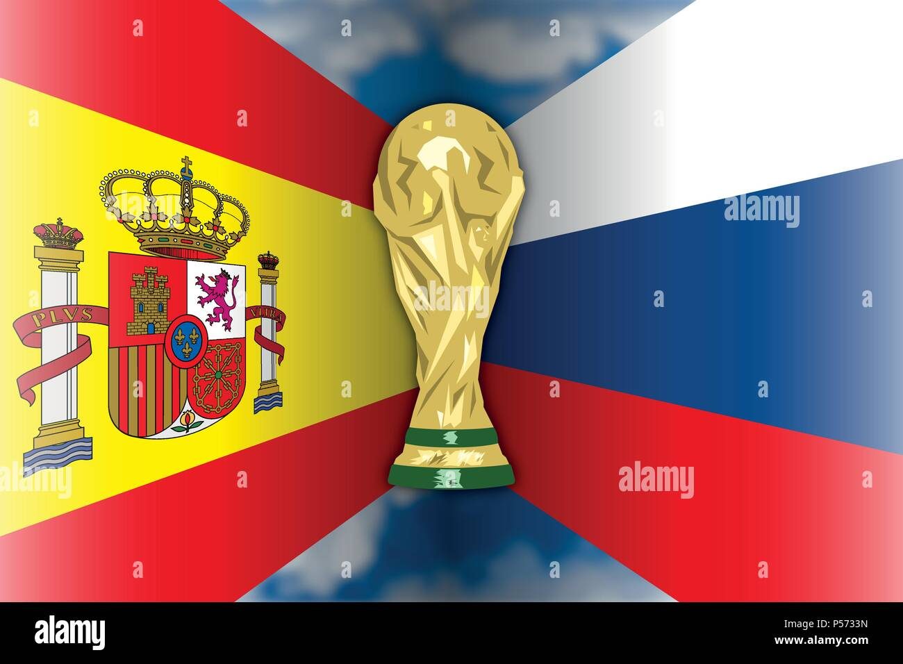 Russia 2018, eighths of final, Spain - Russia - Stock Vector