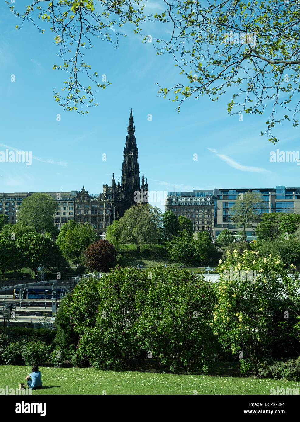 Scott Monument, Edinburgh, seen from Prince Street Gardens. Memorial to Sir Walter Scott,a writer, one of Scotland's most famous sons - Stock Image