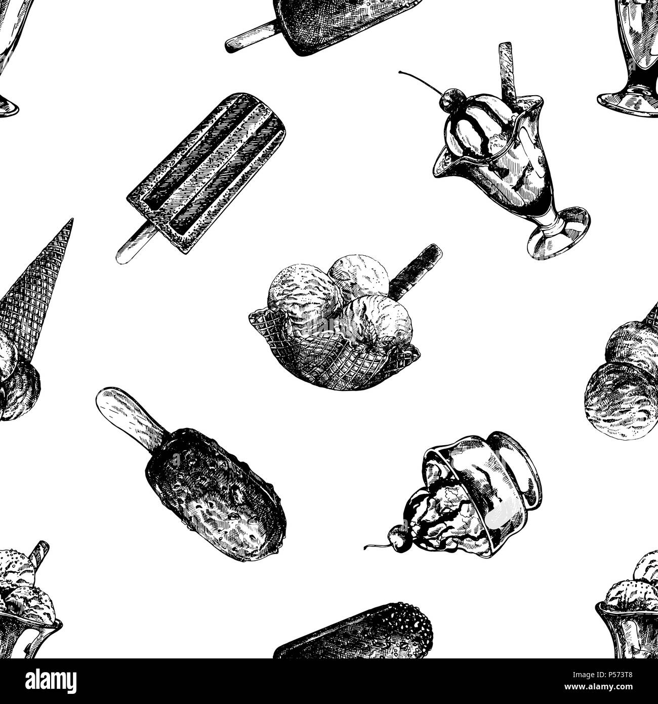 Seamless Pattern With Hand Drawn Watercolor Ice Cream: Custard Black And White Stock Photos & Images