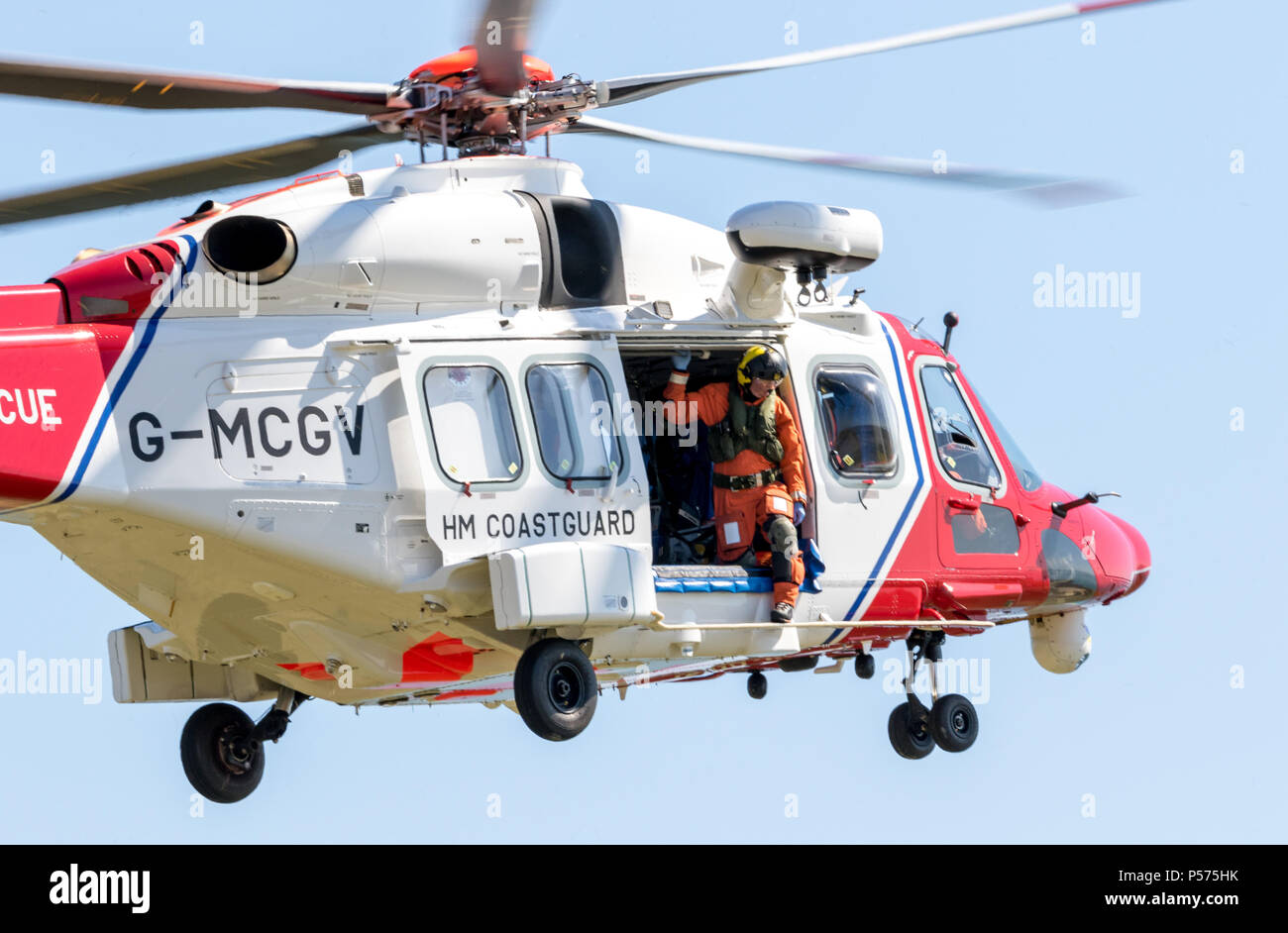 Beachy Head, Eastbourne, East Sussex, UK. 25th June 2018.Police, the Coastguard from Eastbourne and Birling Gap, assisted by the Lydd based Search and Rescue helicopter recover a body from the base of the cliffs at Beachy Head. Credit: Newspics UK South/Alamy Live News - Stock Image