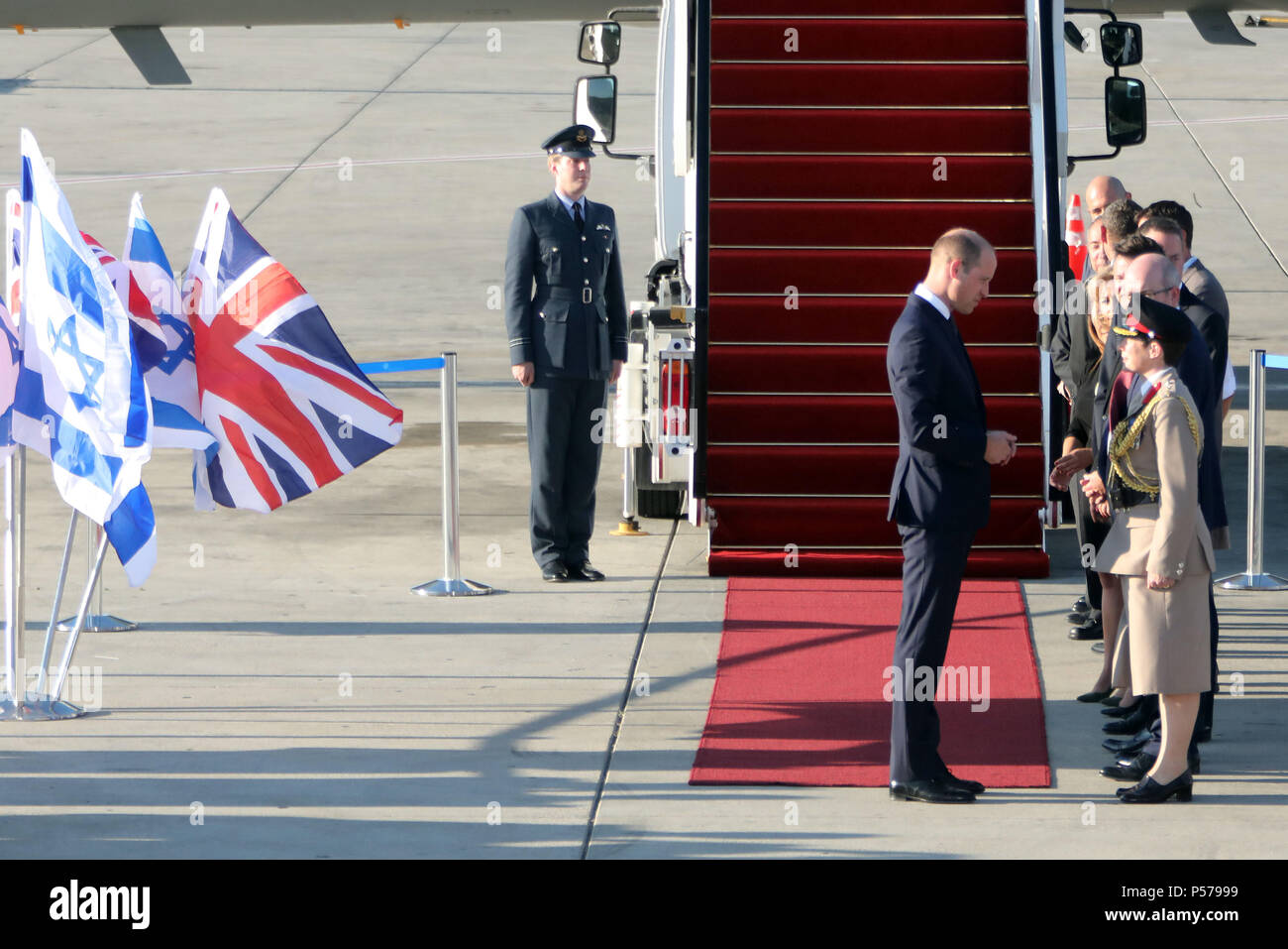 Tel Aviv, Front) arrives at Ben Gurion Airport for a visit to Israel. 25th June, 2018. UK's Prince William (L, Front) arrives at Ben Gurion Airport for a visit to Israel, on June 25, 2018. Credit: JINI/Gideon Markowicz/Xinhua/Alamy Live News - Stock Image