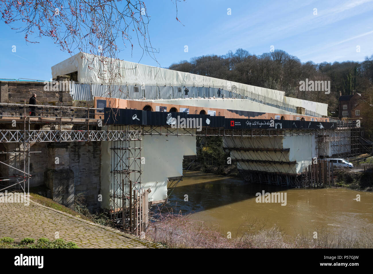 The Iron Bridge with temporary walkway during restoration
