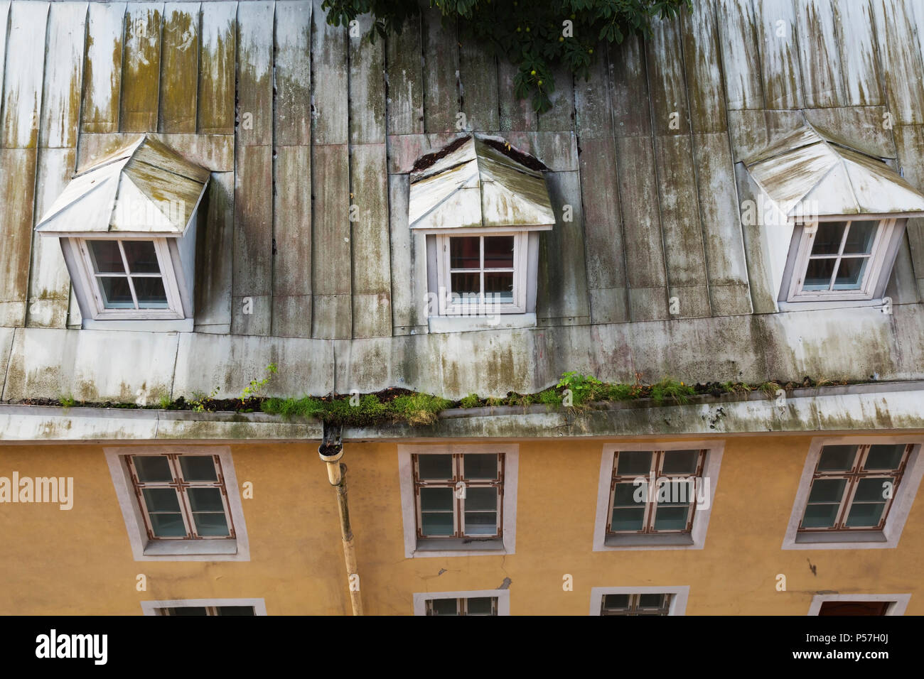 Top View Of Old Architectural Apartment Building With Standing Seam Sheet Metal Roof And Vegetation Growing In The Eavestrough Stock Photo Alamy