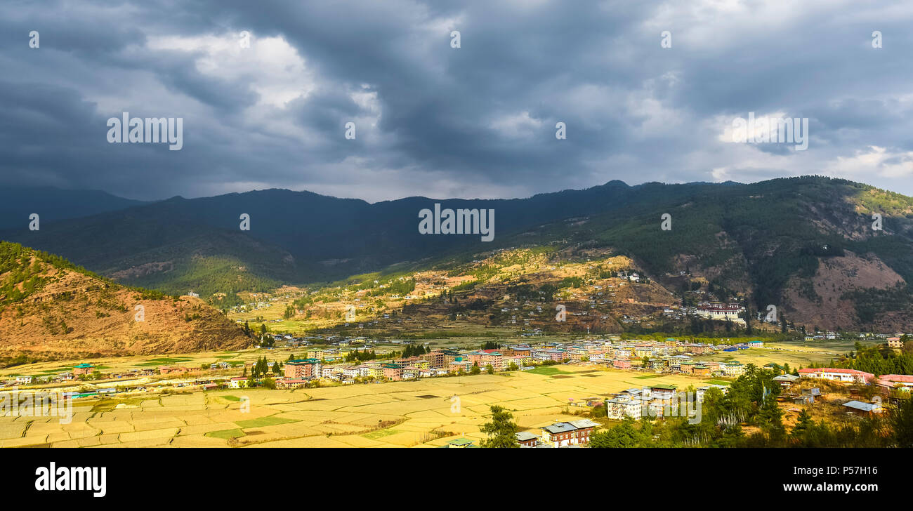 View of Paro, Paro Valley, Himalayan region, Bhutan - Stock Image