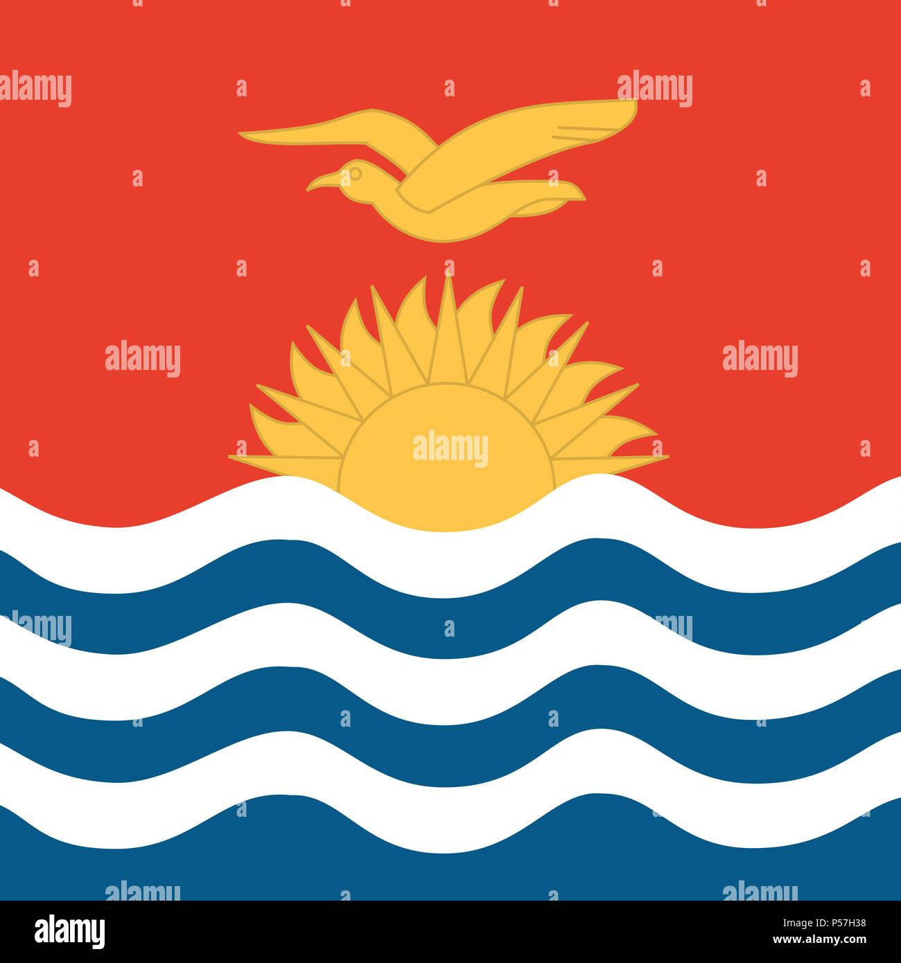 Official national flag of Kiribati - Stock Image