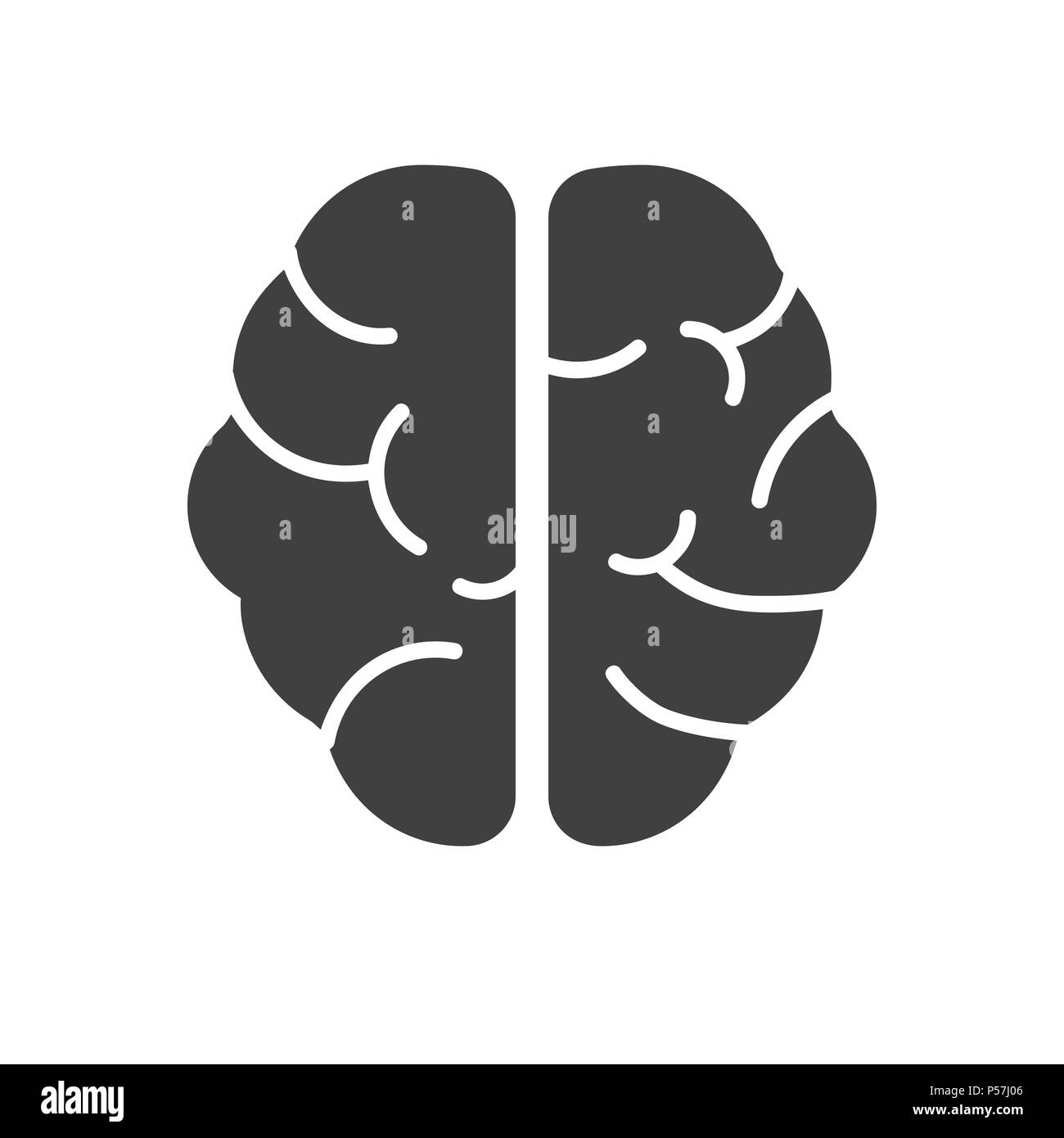 Human Brain Glyph Vector Icon. Isolated on the White Background. Editable EPS file. Vector illustration. - Stock Vector