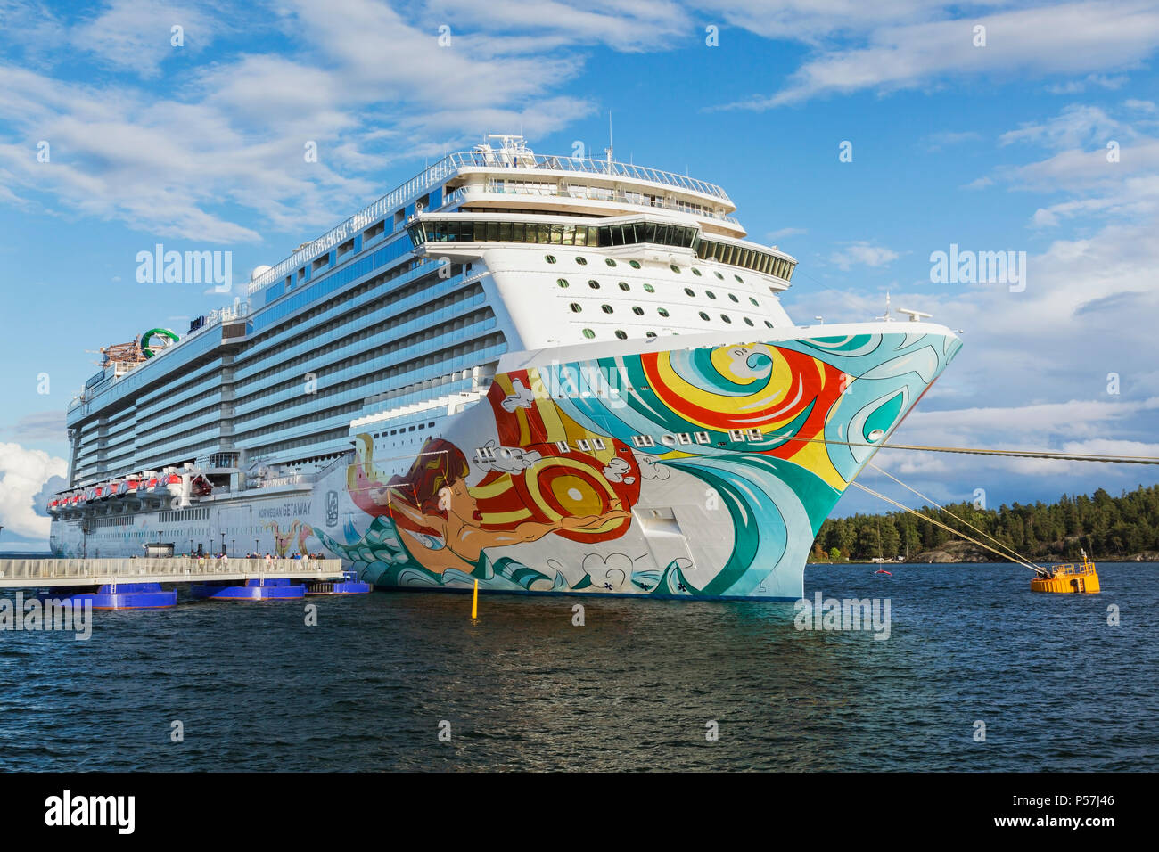 Norwegian Getaway cruise ship moored in the port of Stockholm, Baltic Sea, Sweden - Stock Image