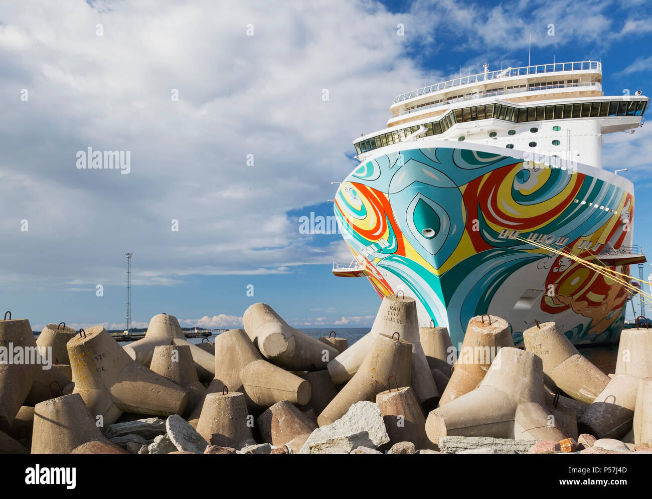 Norwegian Getaway cruise ship moored in the port of Tallinn, Estonia - Stock Image