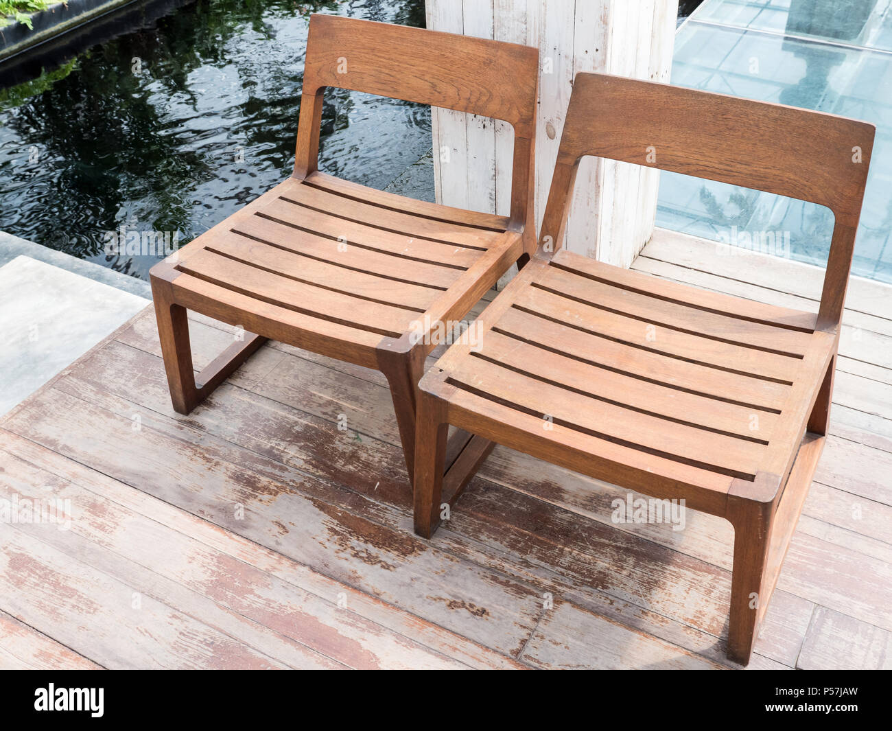 Cool Double Wooden Chair On The Plank Floor Which Over The Small Squirreltailoven Fun Painted Chair Ideas Images Squirreltailovenorg