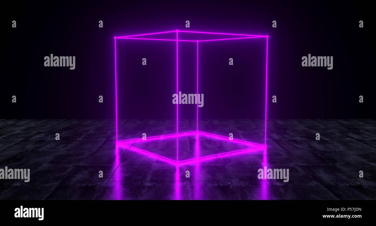 Geometric Futuristic Sci-fi Neon Primitive Cube Light On Dark Grunge Concrete Surface 3D Rendering Illustration - Stock Image