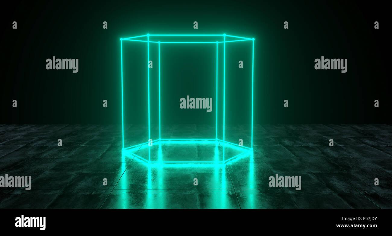 Geometric Futuristic Sci-fi Neon Primitive Hexagon Cylinder Light On Dark Grunge Concrete Surface 3D Rendering Illustration - Stock Image