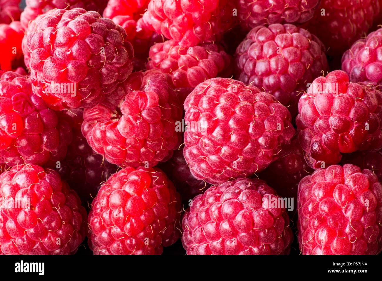 Raspberry fruit background. Macro. - Stock Image