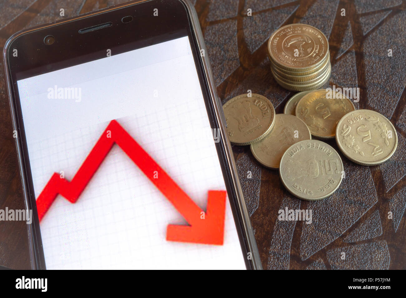 Stock market crashes and very less returns from shares - Stock Image