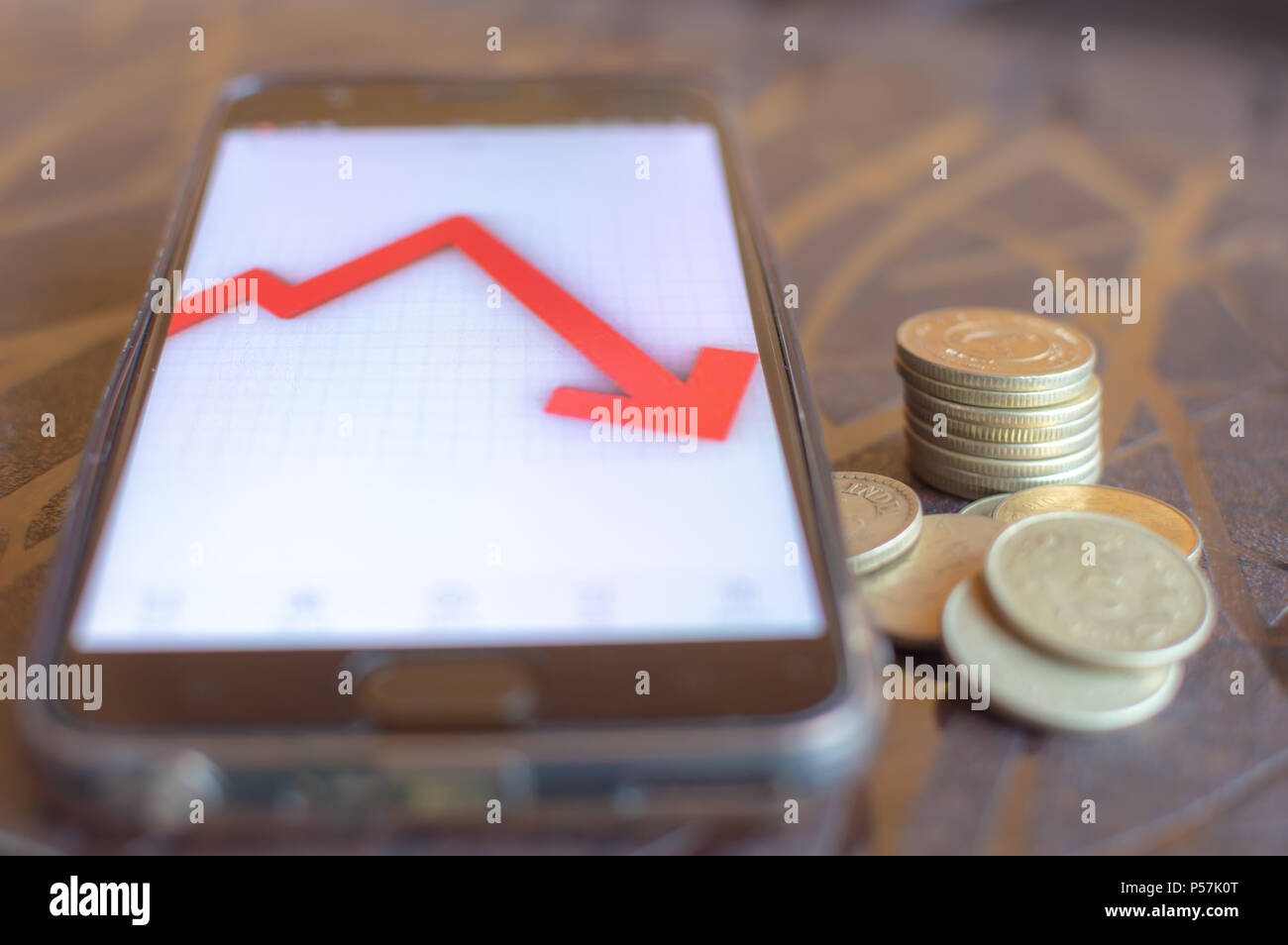 Indian stock market crashes and very less returns from shares. Dollar gains over Rupee - Stock Image