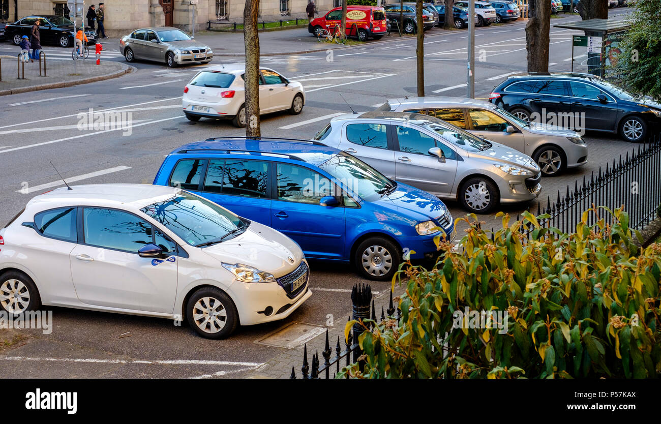 Strasbourg, cars parked on the pavement, Alsace, France, Europe, - Stock Image