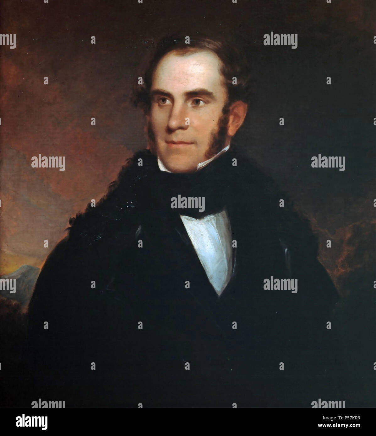 THOMAS COLE (1801-1848) English-born American painter in 1837 potrait by Asher Durand - Stock Image