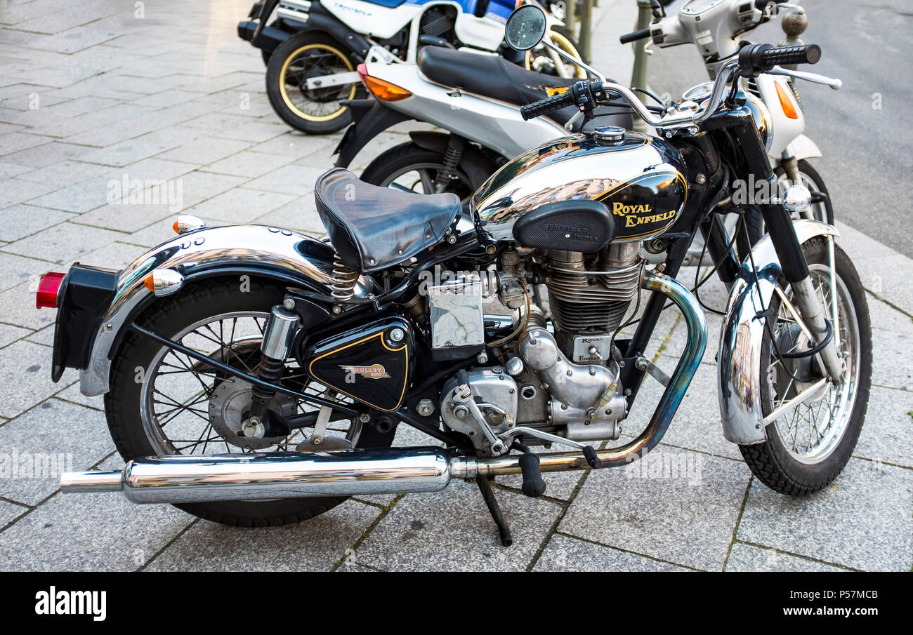 Bullet 500, Royal Enfield classic motorbike parked on pavement, France, - Stock Image