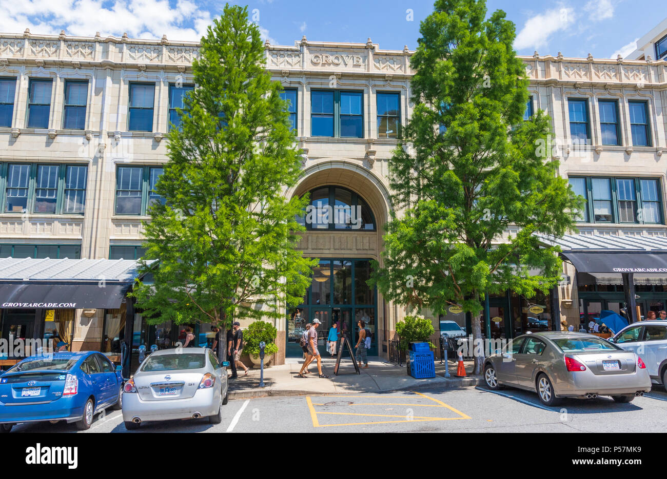 ASHEVILLE, NC, USA-24 JUNE 18: The Grove Arcade, comprising an entire city block in downtown Asheville. Stock Photo